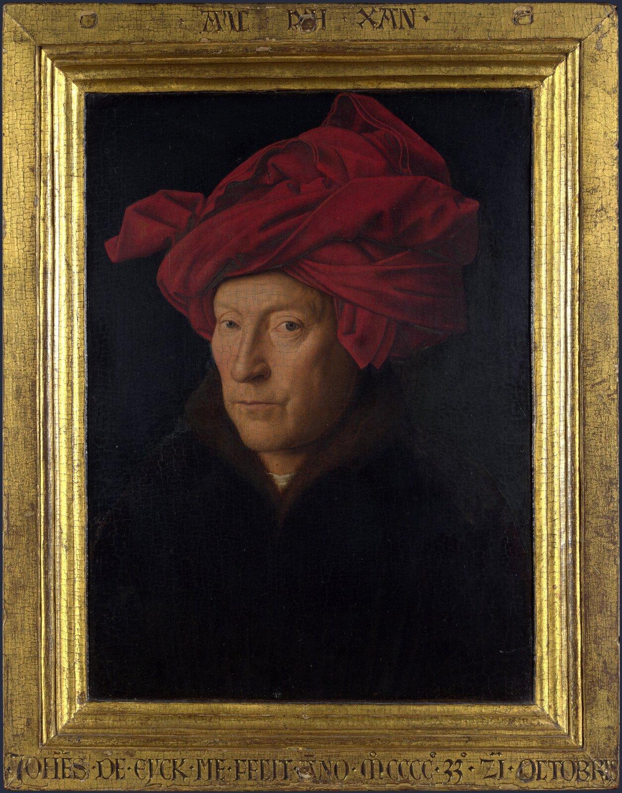 Autoportret (domniemany) Źródło: Jan van Eyck, Autoportret (domniemany), 1433, olej na desce, National Gallery, Londyn, domena publiczna.