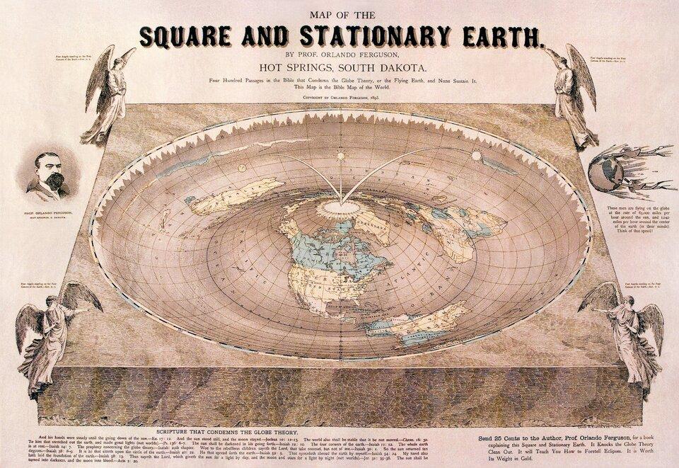 Trzecia ilustracja przedstawia mapę spłaszczonej Ziemi zkońca dziewiętnastego wieku. Autor Orlando Ferguson. Widok zgóry. Mapa wykonana wkolorze. Cała mapa ma postać wydrążonej wkamieniu misy. Mapa przyjmuje formę koła, na którego powierzchni znajdują się linie południków irównoleżników. Wcentrum mapy leży biegun północny, który jest jednocześnie szczytem wypukłości utworzonej na dnie misy. Jest to lekkie wzniesienie znaniesionymi kontynentami. Na wierzchołku wypukłości wokół bieguna nakreślony jest biały okrąg, zktórego odchodzą promieniście południki siatki kartograficznej. Ze środka okręgu wychodzą trzy pałąki, na końcach których zawieszone są trzy małe słońca. Pałąki rozchodzą się promieniście wtrzy różne strony. Na rogach kamiennej płyty, poza kołem mapy, znajdują się anioły. Jeden wkażdym rogu płyty kamiennej. Każdy anioł zwrócony jest wstronę środka obrazu Ziemi.