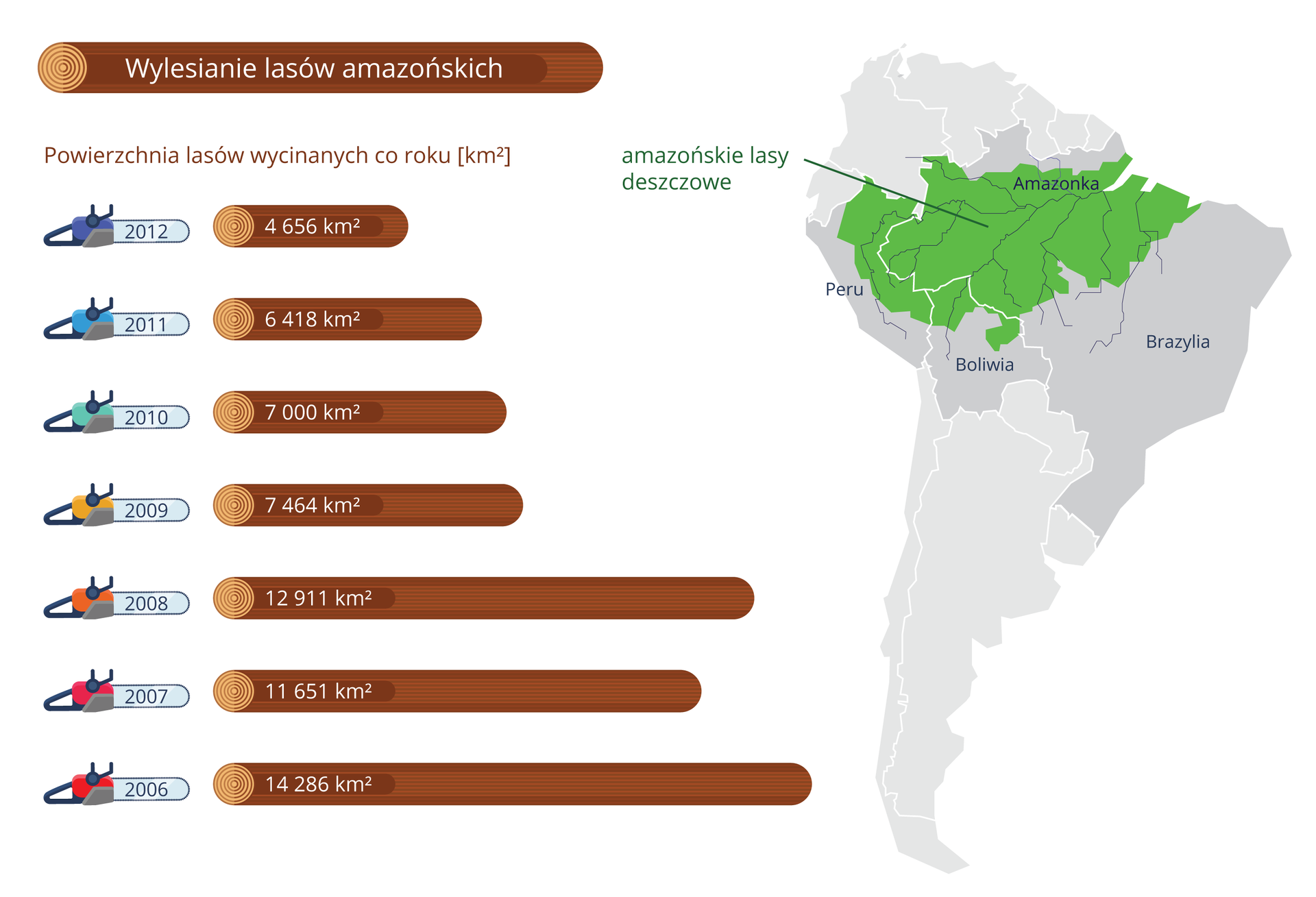 Ilustracja przedstawia dane, dotyczące wyrębu lasów wAmazonii wpostaci brązowych kloców drewna. Obok każdego zlewej znajduje się rysunek piły. Długość kloca obrazuje powierzchnię wycinanych lasów wkilometrach kwadratowych. Zprawej rysunek kontynentu Ameryki południowej zzieloną plamą, wskazująca miejsce wyrębu – amazońskie lasy deszczowe.