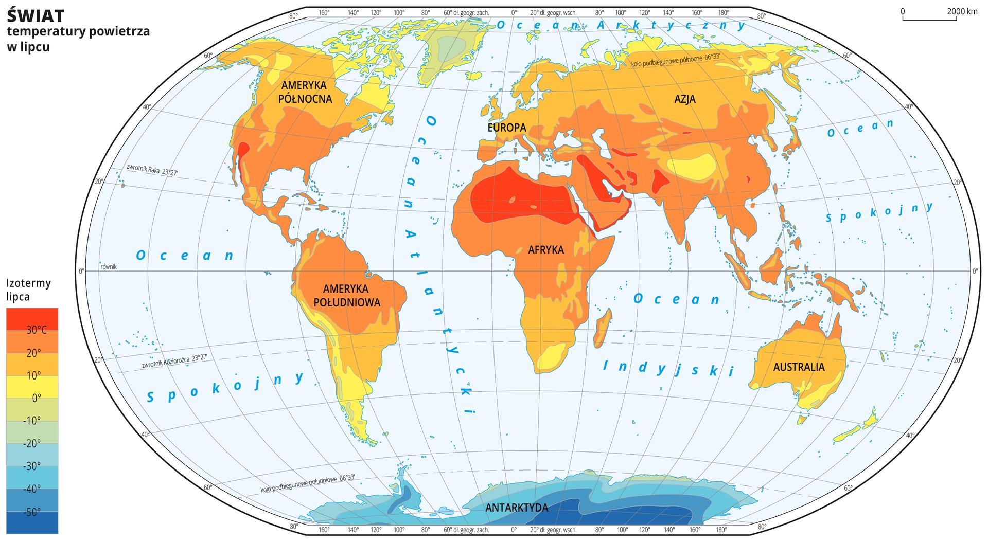 Ilustracja przedstawia mapę świata. Opisano kontynenty. Wody zaznaczono kolorem niebieskim. Opisano oceany. Na mapie wobrębie lądów kolorami zaznaczono średnie miesięczne temperatury powietrza wlipcu. Centralną część mapy pokrywa kolor pomarańczowy. Na północy kolor przechodzi wżółty do zielonego, ana południu wzielony do ciemnoniebieskiego. Mapa pokryta jest równoleżnikami ipołudnikami. Dookoła mapy wbiałej ramce opisano współrzędne geograficzne co dwadzieścia stopni. Po lewej stronie mapy wlegendzie umieszczono prostokątny pionowy pasek. Pasek podzielono na dziesięć części. Ugóry – ciemnopomarańczowy, dalej pomarańczowy, środek żółty przechodzący wzielony, na dole niebieski do ciemnoniebieskiego. Każda część paska obrazuje dziesięciostopniowy przedział średniej miesięcznej temperatury powietrza wlipcu wróżnych regionach świata. Ciemnopomarańczowy oznacza obszary najcieplejsze, ciemnoniebieski – najzimniejsze. Odcieniami koloru pomarańczowego zaznaczono obszary ośredniej miesięcznej temperaturze powietrza wlipcu powyżej dziesięciu stopni Celsjusza, kolorem żółtym – od zera do dziesięciu stopni Celsjusza. Odcieniami koloru zielonego iniebieskiego zaznaczono obszary ośredniej miesięcznej temperaturze powietrza wlipcu poniżej zera. Obszary oznaczone kolorem ciemnopomarańczowym, na których średnia temperatura powietrza wlipcu wynosi powyżej trzydziestu stopni Celsjusza znajdują się wśrodkowej części Afryki iAzji Mniejszej. Obszary pokryte kolorem ciemnoniebieskim, onajniższej średniej temperaturze powietrza wlipcu – poniżej pięćdziesiąt stopni Celsjusza znajdują się na Antarktydzie.