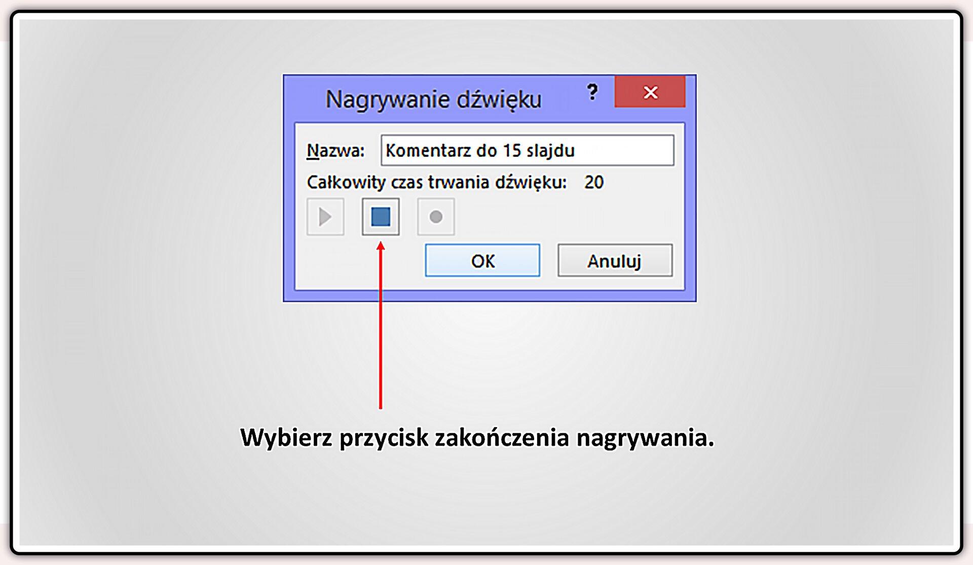 Slajd 4 galerii slajdów pokazu: Nagrywanie komentarza do prezentacji wprogramie MS PowerPoint