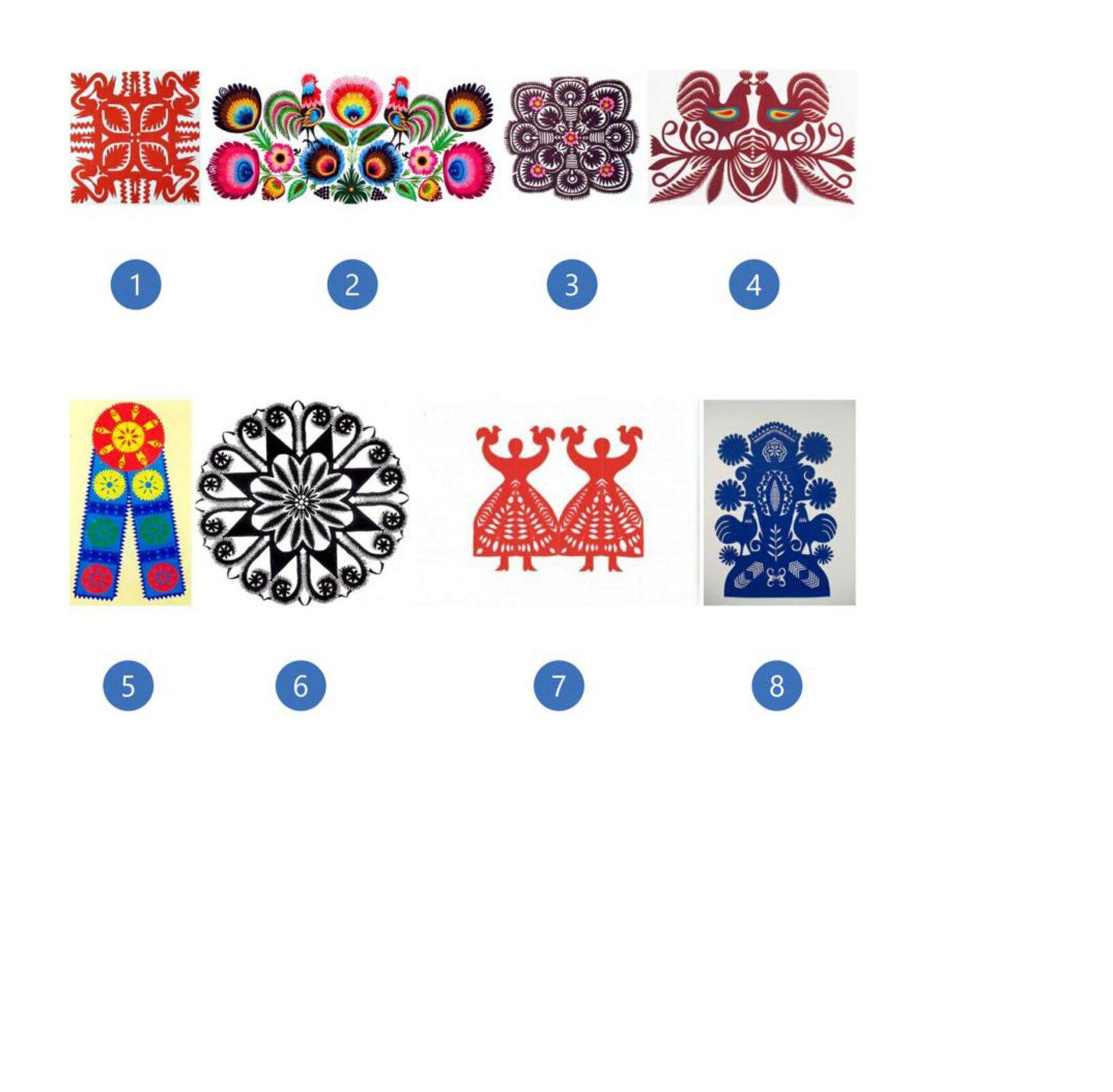 Pierwsza ilustracja przedstawia wycinankę wkolorze czerwony zmotywami roślinnymi. Centralną część stanowi podzielony na cztery części kwadrat. Znarożników idą ku środkowi listki. Zkażdego narożnika na zewnątrz wychodzi wzór dwóch siedzących, stykających się dziobami ptaków. Całość dopełniają detale oroślinnym motywie. Druga ilustracja to kodra wpoziomie, symetrycznie ułożone kolorowe kwiaty ilistki kwiatowe. Po obu bokach głównego, środkowego kwiata widać kolorowego koguta zzielonkawym ogonem. Kwiaty są różnokolorowe. Trzecia ilustracja przedstawia mazur wkolorze ciemno-brązowym omotywie roślinnym. Składa się zwielu okrągłych lub półokrągłych części wśrodku których są kwiaty lub liście. Na wzorze wyróżnić można pięć kwiatów rozmieszczonych wrogach icentralnym punkcie, które są innego koloru niż całość. Płatki są różowo-czerwone, aśrodek żółty. Czwarta ilustracja przedstawia dwa koguty stojące na gałązce istykające się dziobami. Całość jest wkolorze bordowym za wyjątkiem skrzydeł kogutów, które mają barwę niebieską, żółtą iczerwoną. Od gałązki odchodzą różnego rodzaju listki. Piąta ilustracja przedstawia wstęgę zczerwonym kołem ożółtym wzorze wśrodku. Zkoła wychodzą dwie niebieskie wstęgi zpiłowatymi brzegami. Na każdej znich są trzy okrągłe rozetki wkolorze żółtym, zielonym iczerwonym ułożone jedna pod drugą. Rozetki są przedzielone wzorem przypominającym ustawione małe słupki siana wkolorze granatowym. Szósta ilustracja przedstawia wycinankę. Jest to wzór oparty na kole wczarnym kolorze. Środek to kwiat owielu płatkach wpisany wgwiazdę oośmiu wierzchołkach. Przestrzeń między ramionami gwiazdy wypełnia wzór przypominający wodę tryskającą zfontanny. Siódma ilustracja przedstawia wycinankę kobiety zkokoszkami. Wycinanka to dwie kobiety stojące istykające się dołem rozkloszowanymi sukniami. Trzymają ręce wgórze, na których widać koguciki. Wycinanka ma kolor czerwony. Ósma ilustracja przedstawia rózgę. Jest to niebieski, symetryczny wzór wycinaki przypominającej drzewo.