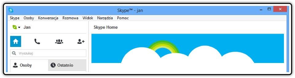 Zrzut fragmentu okna komunikatora Skype zwidoczną nazwą użytkownika