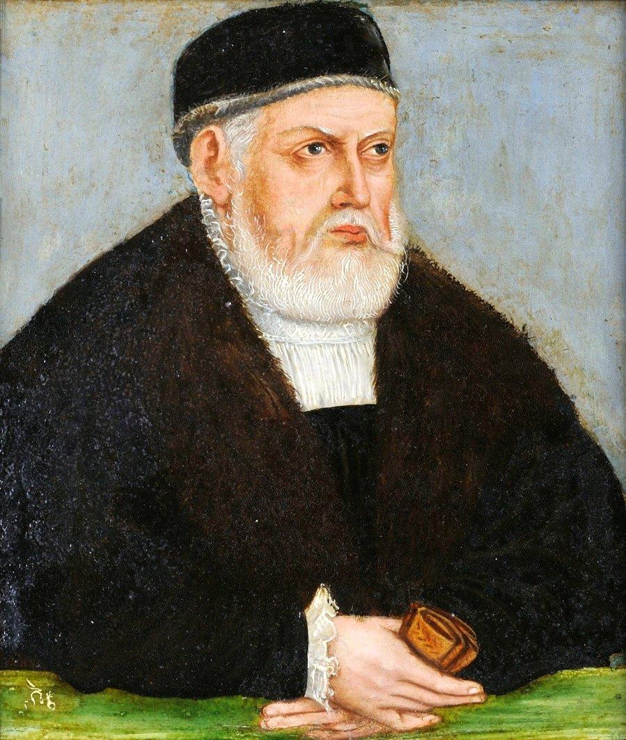 Miniatura Zygmunta IStarego. Zygmunt Stary Źródło: Lucas Cranach Młodszy, Miniatura Zygmunta IStarego., ok. 1553, olej na płycie cyny, domena publiczna.