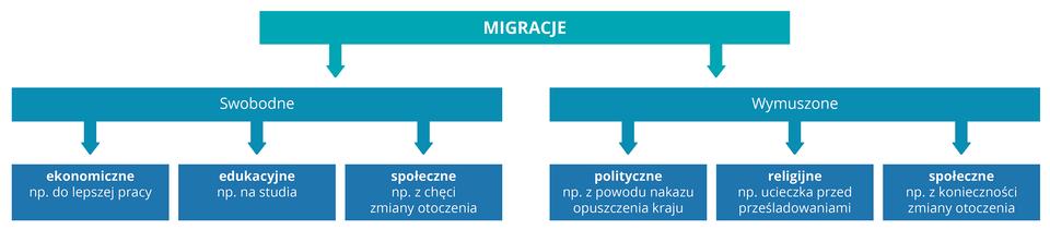 Na ilustracji schemat podziału migracji: swobodne: (ekonomiczne, edukacyjne, społeczne), wymuszone (polityczne, religijne, społeczne).