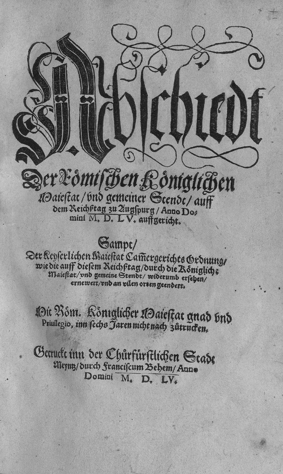 Strona tytułowa traktatu pokojowego zawartego w1555 roku wAugsburgu Źródło: Michail, Strona tytułowa traktatu pokojowego zawartego w1555 roku wAugsburgu, 1555, fotografia, domena publiczna.