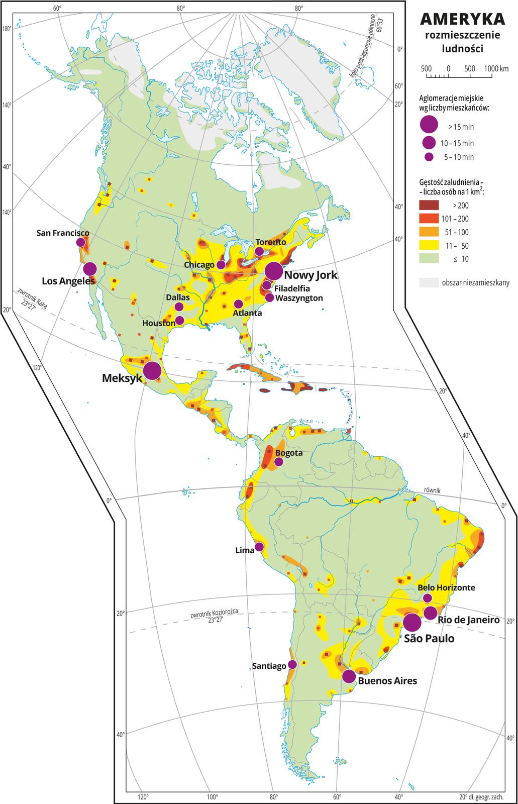 Ilustracja przedstawia mapę rozmieszczenia ludności wAmeryce. Kolorami od zielonego (w przewadze) przez żółty ipomarańczowy do czerwonego ibrunatnego przedstawiono gęstość zaludnienia. Na wschodnich wybrzeżach przeważa kolor żółty (jedenaście do pięćdziesięciu osób na jeden kilometr kwadratowy). Wokół miast, które też przeważnie skupione są wtym rejonie – kolor pomarańczowy do brunatnego oznaczający dużą gęstość zaludnienia powyżej pięćdziesięciu osób na kilometr kwadratowy. Na mapie różnej wielkości sygnatury (koła) obrazujące aglomeracje miejskie wg liczby mieszkańców: São Paulo, Nowy Jork, Meksyk – powyżej piętnastu milionów mieszkańców. Los Angeles, Buenos Aires, Rio de Janeiro – od dziesięciu do piętnastu milionów mieszkańców. Kilkanaście mniejszych sygnatur oznaczających miasta oliczbie mieszkańców od pięciu do dziesięciu milionów mieszkańców. Obszary niezamieszkane na północy Ameryki Północnej – szare. Dookoła mapy wbiałej ramce opisano współrzędne geograficzne co dwadzieścia stopni. Wlegendzie umieszczono iopisano kolory użyte na mapie.