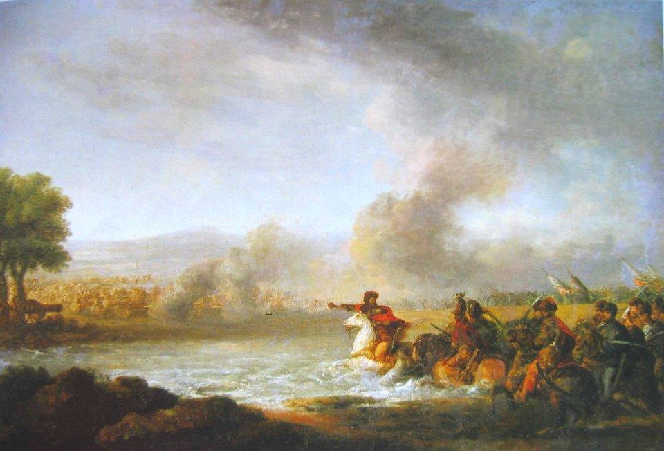 Bitwa pod Warką 1656 Oddziały szwedzkie wycofujące się spod Sandomierza, połączyły się niedaleko Warkizsiłami idącymi spod Radomia, również kierującymi się na Warszawę.Obie grupy rozpoczęły przeprawę przez most na Pilicy wWarce. Cała przeprawa zajęła kilkanaście godzin, apo przejściu wojsk most został rozebrany.Po pozostawieniu silnych posterunków nad rzeką iwWiniarachSzwedzi ruszyli do Warszawy. sformowani wkolumnę długości 4kilometrów.Gdy nadeszływojska koronne Lubomirskiego iCzarnieckiego,czoło kolumny było wPiasecznie, aostatnie oddziały dopiero wychodziłyzWarki.Mimo, że szeroko rozlana rzeka ibraku mostu nie dawały nadziei na dogonienie Szwedów, oddziały polskiestosunkowo szybko znalazły odpowiedni do przeprawy bród.Uderzenie jazdy polskiej złamało opór Szwedów.Rozbite oddziały próbowały bronić się jeszcze wlesie, ale okoliczni mieszkańcy podpalili trawy ikrzewy, cozmusiło Szwedów do wyjścia na otwarte pole. Bitwa po 2 godzinach dobiegła końca.Zwycięstwo pod Warką (7 kwietnia 1656 roku)miało ogromne znaczenie moralne -wojska polskie zpowodu ogromnych strat poniesionych wwalkach na wschodzie, składało się głównie zniedoświadczonych żołnierzy iwregularnychbitwach do tej pory zwyciężalizwyciężali Szwedzi. Źródło: Franciszek Smuglewicz, Bitwa pod Warką 1656, koniec XVIII w., olej na płótnie, Muzeum Narodowe we Wrocławiu, domena publiczna.