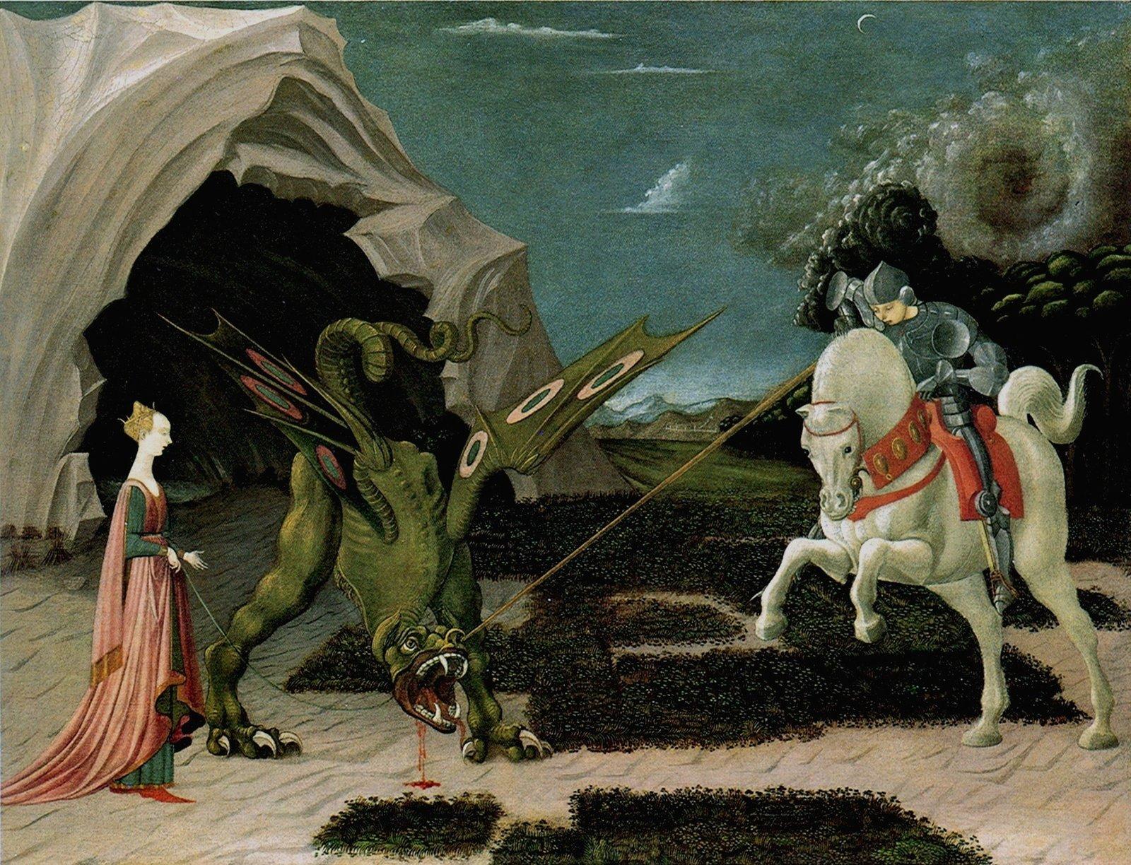 Święty Jerzy ismok Źródło: Paolo Uccello, Święty Jerzy ismok, 1455–1460, olej na płótnie., domena publiczna.