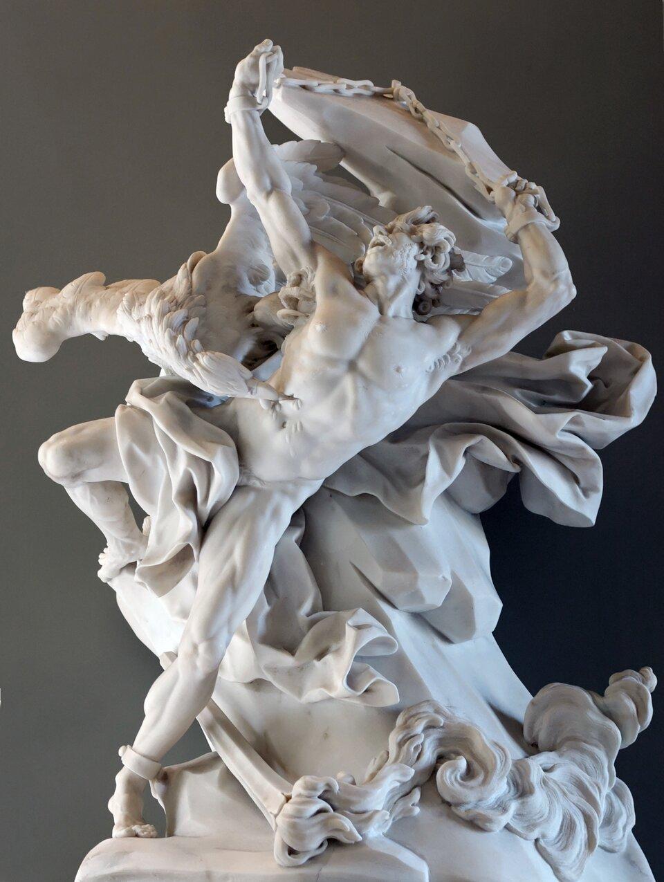Prometeusz wokowach Źródło: Nicolas-Sébastien Adam, Prometeusz wokowach, 1762, Muzeum wLuwrze, domena publiczna.