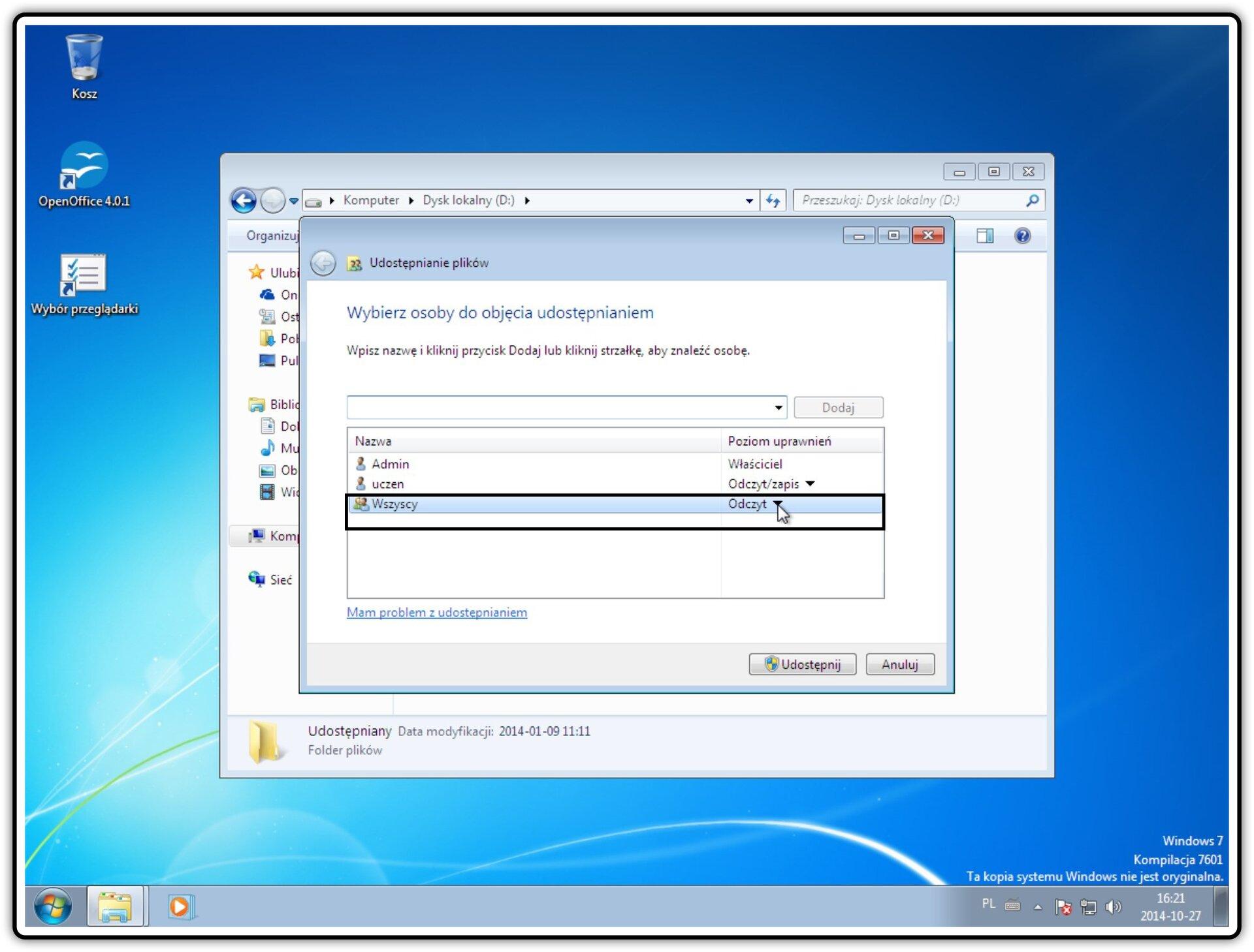 Slajd 4 galerii zrzutów okien: Udostępnianie zasobów wsystemie Windows