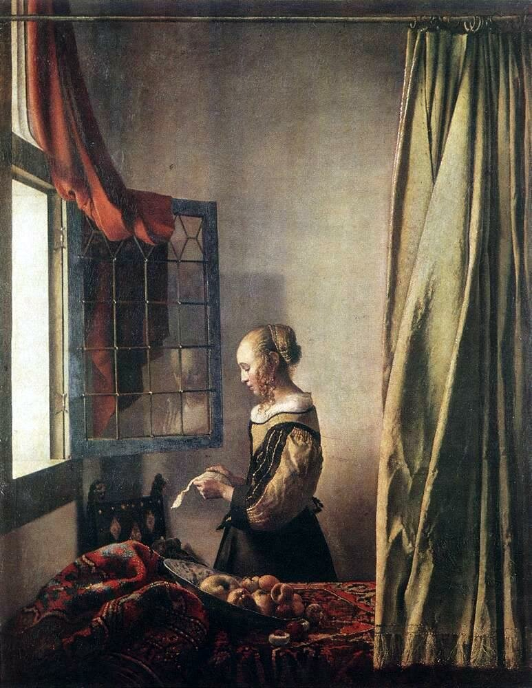 Dziewczyna czytająca list przy otwartym oknie Źródło: Jan Vermeer, Dziewczyna czytająca list przy otwartym oknie, ok. 1657, olej na płótnie, Gemäldegalerie Alte Meister – Staatliche Kunstsammlungen, Drezno, domena publiczna.