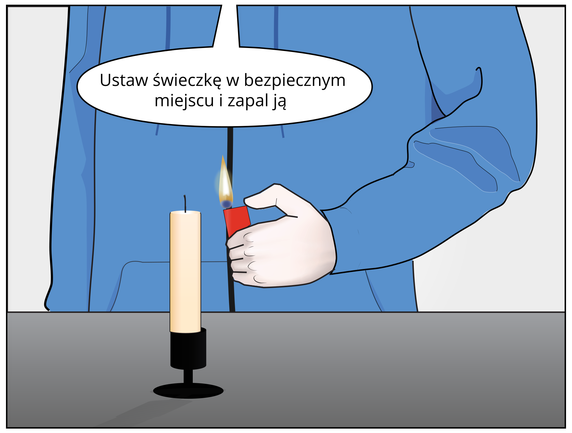 Rysunek ręki chłopca trzymającej zapaloną zapalniczkę. Chłopiec zbliża rękę zzapalniczką do świeczki.