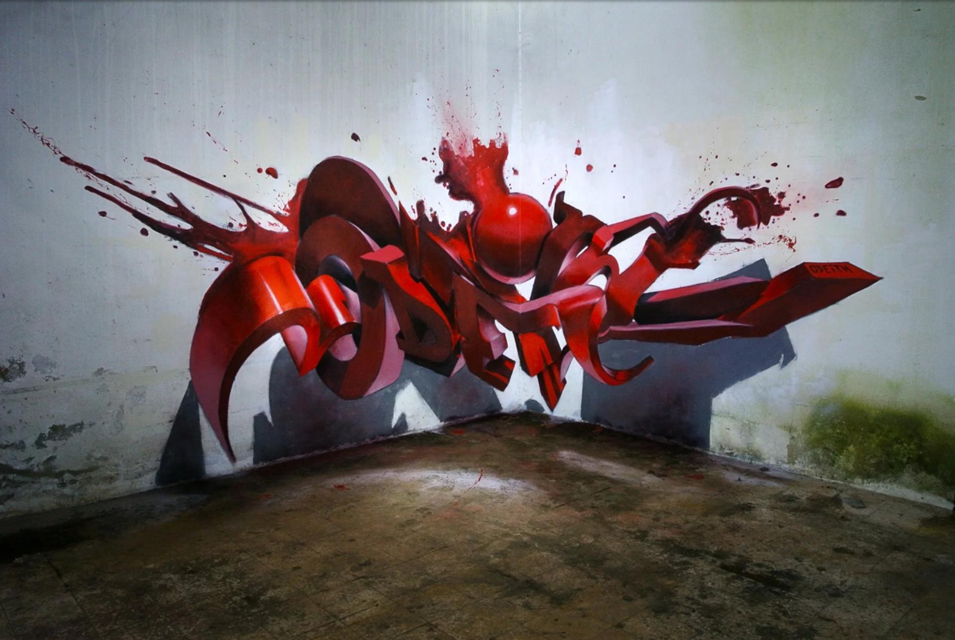 Ilustracja przedstawia graffiti Sergio Odeith'a. Ukazuje czerwony, rozpryskujący się napis zamieszczony wrogu ściany wtaki sposób, że tworzy efekt trójwymiarowy. Na ścianie ipodłodze został namalowany cień napisu.