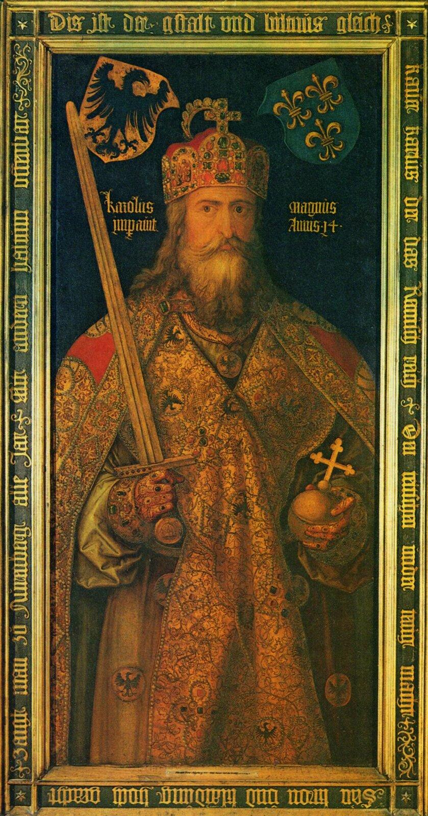 Cesarz Karol Wielki Karol Wielki stworzył pierwsze europejskie imperium średniowiecza iw800 roku został cesarzem. Źródło: Albrecht Dürer, Cesarz Karol Wielki, 1511–1513, olej na desce, Germanisches Nationalmuseum, domena publiczna.