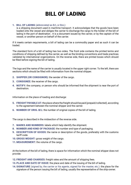 The document presents the key elements of abill of lading and their explanations. Dokument przedstawia główne elementy konosamentu wraz wyjaśnieniami.