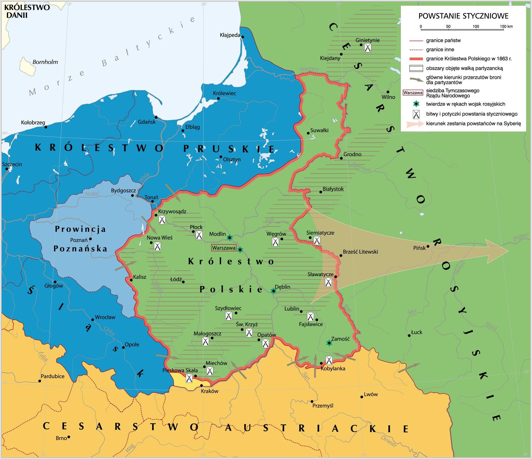 namapie widać granice Królewstwa Polskiego izaznaczne są miejsca głównych bitew toczonych podczas powstania listopadowego