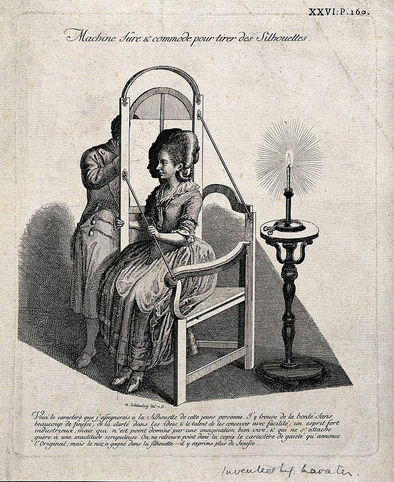 """Ilustracja przedstawiająca grafikę autorstwa Johanna Rudolpha Schellenberga pt. """"Mężczyzna odrysowujący silhouette siedzącej kobiety"""". Ilustracja przedstawia siedzącą na krześle kobietę, obok niej stoi świeca oraz mężczyzna rysujący jej sylwetkę."""