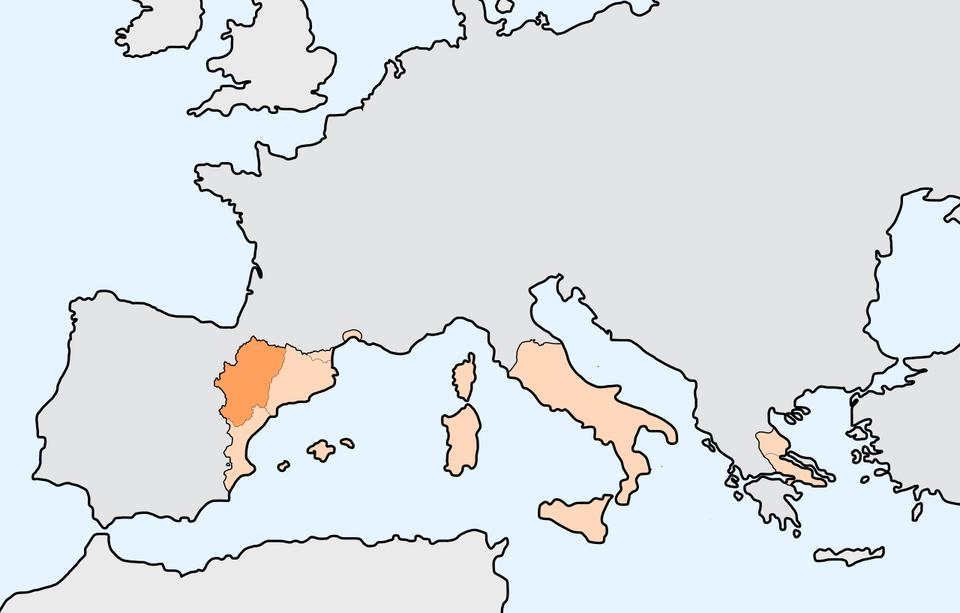 mapaKorony Domu Aragonii