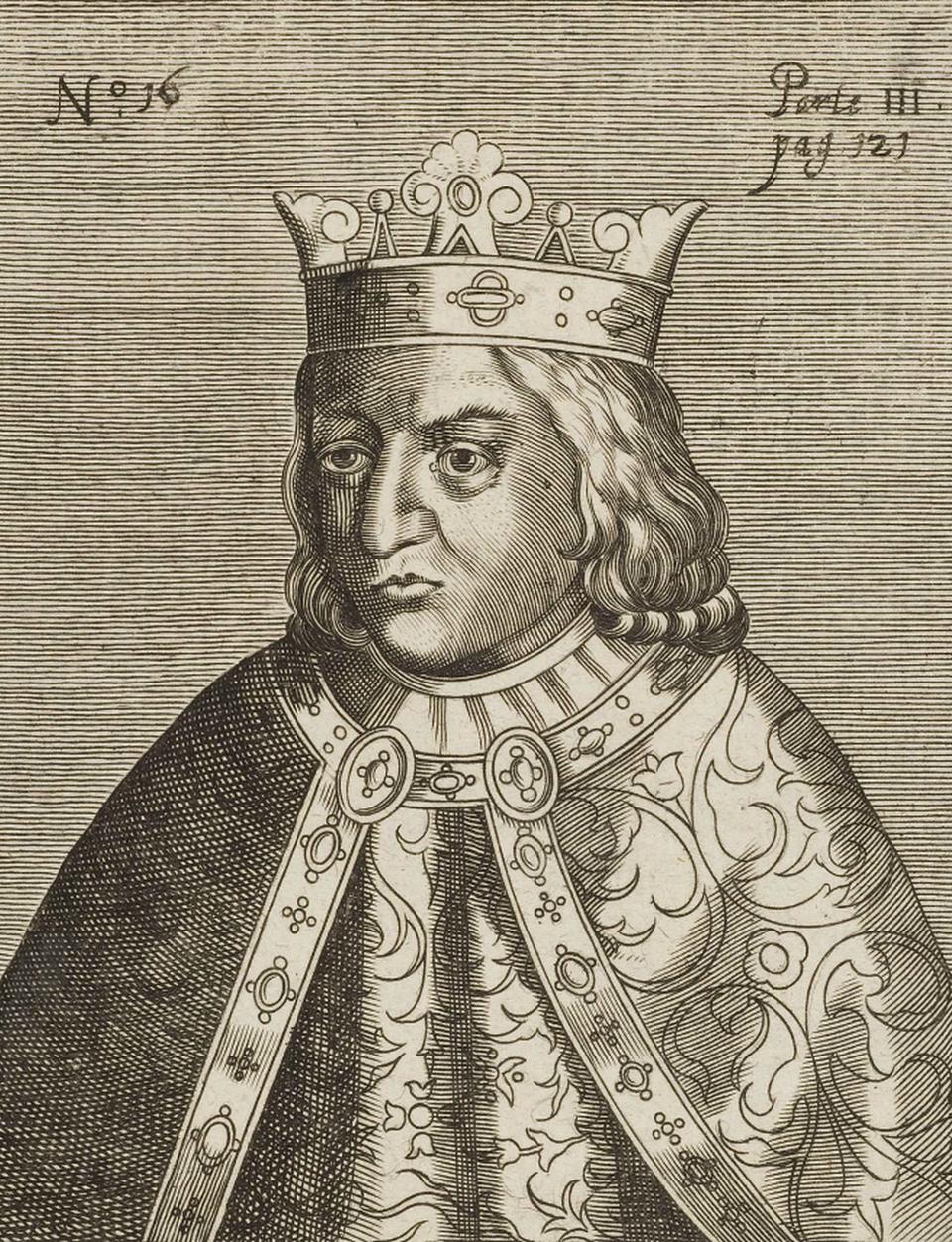 """Władysław II, król Czech iWęgier Władysław II Jagiellończyk,król czeski od 1471 roku, węgierski ichorwacki od 1490 roku, syn króla polskiego Kazimierza IV Jagiellończyka iElżbiety Rakuszanki. Na Węgrzech zyskałprzydomek Dobzse(czyli """"król Dobrze""""), bonadużywał tego słowa. Źródło: Johann Conrad Klüpfel, Władysław II, król Czech iWęgier, 1600-1620, miedzioryt, domena publiczna."""