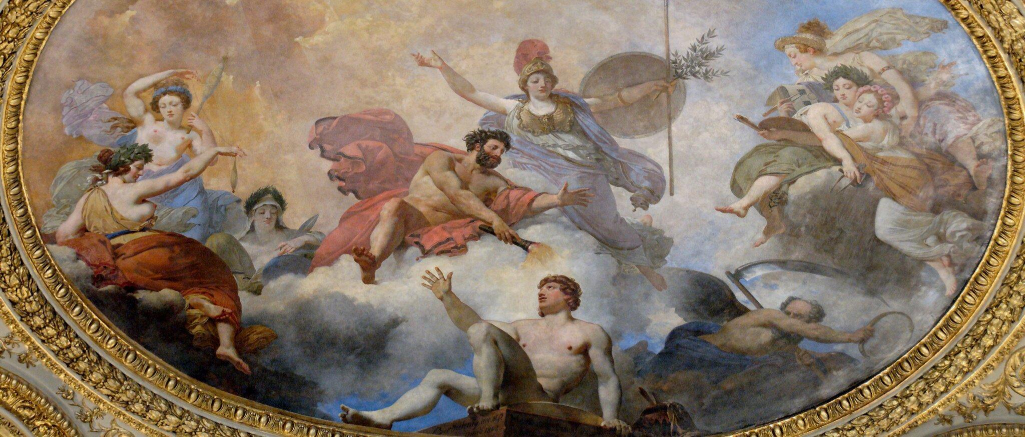 Prometeusz stwarza człowieka przy współudziale Ateny Źródło: Jean-Simon Berthélemy, Jean-Baptiste Mauzaisse, Prometeusz stwarza człowieka przy współudziale Ateny, 1802, Muzeum wLuwrze, domena publiczna.