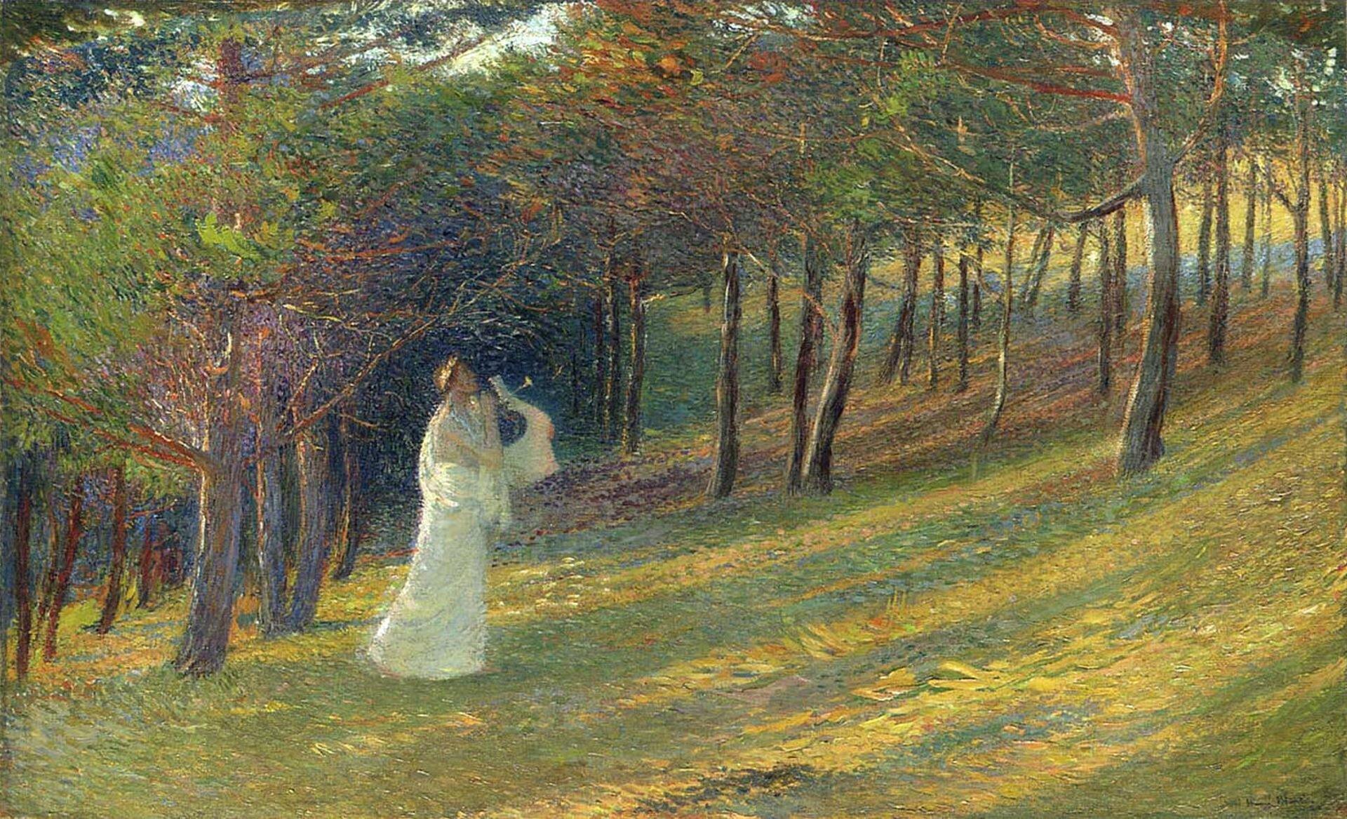 """lustracja przedstawia obraz Henri-Jean Guillaume Martina pt. """"Orfeusz wlesie"""". Wcentrum obrazu na leśnej polanie stoi mężczyzna wbiałych szatach; gra na lirze. Wokół rosną drzewa. Na polanę pada rozproszone światło słoneczne."""