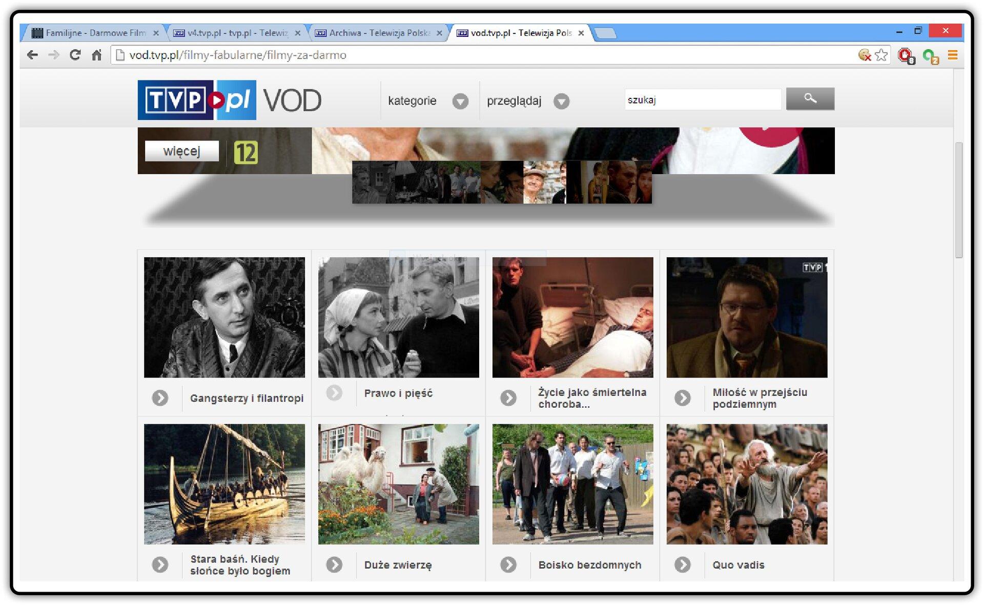 Zrzut okna strony http://www.tvp.pl