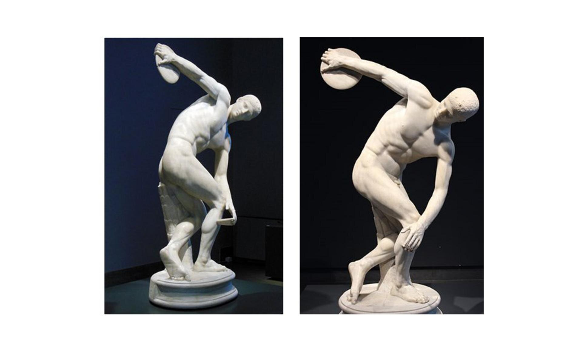 """Ilustracja przedstawia dwa ujęcia rzeźby """"Dyskobola"""", która przedstawia sportowca wmomencie rzutu dyskiem. Ramiona są ułożone wtaki sposób, że wydaje się jakby tworzyły część okręgu . Głowa pochylona jest ku przodowi, ciało pochylone, mięśnie napięte. Rzeźbę można oglądać zkilku stron, mimo że najefektowniej prezentuje się od frontu. Dyskobol to rzymska, marmurowa kopia wykonana zbrązu według oryginału Myrona ok. 450 p.n.e. Znajduje się wPalazzo Massimo alle Terme wRzymie (Włochy)."""