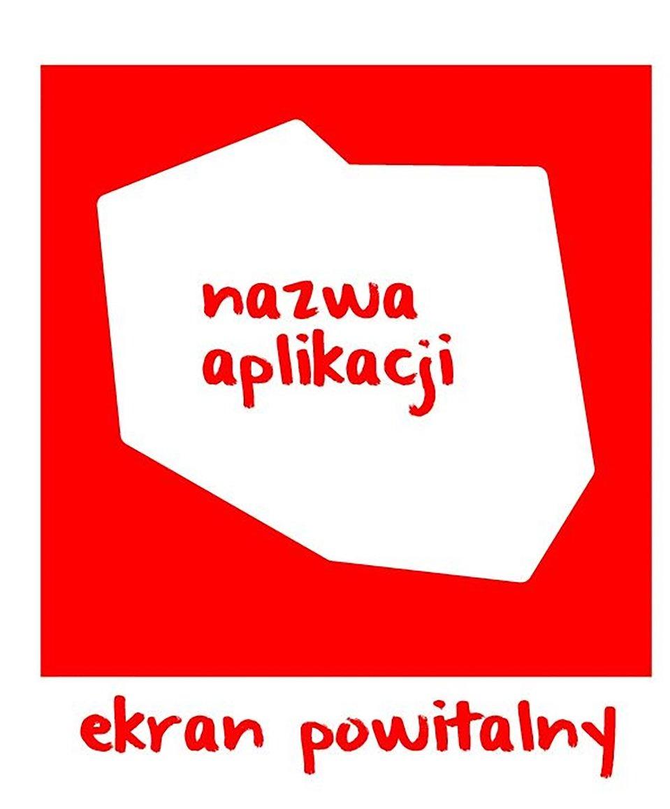 Projekt ekranu powitalnego, bazuje na konturach granic Polski, kolorystyka biało-czerwona