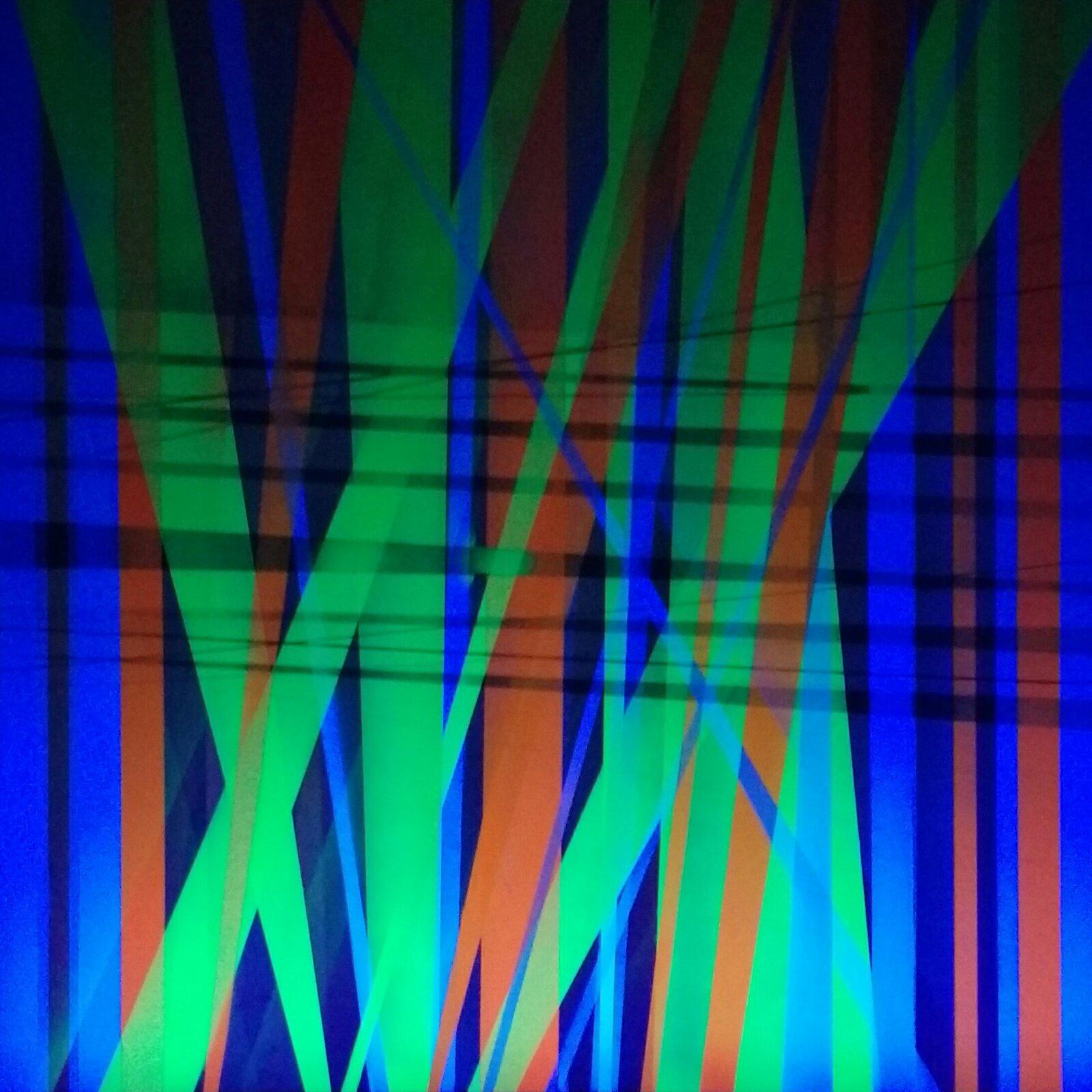 """Ilustracja przedstawia obraz """"Chaos UV wuv"""" autorstwa Iwony Szpak. Abstrakcyjna kompozycja ukazuje przecinające się ze sobą, pionowe, poziome iskośne linie oróżnych kolorach na ciemno-granatowym tle. Skośne, długie, nieregularne kształty wcentrum kompozycji, dzięki swojemu jasno-zielonemu kolorowi wysuwają się na pierwszy plan. Równie wyróżniającymi się elementami są pionowe pasy oczerwonej barwie. Na dalszym planie, wcentrum obrazu znajdują się ciemno-niebieskie, poziome linie. Wtle artystka namalowała jasno-niebieskie, pionowe pasy. Kontrast pomiędzy ciepłymi achłodnymi barwami tworzy wrażenie iluzji przestrzeni wkompozycji. Praca została wykonana wtechnice spray na płótnie."""