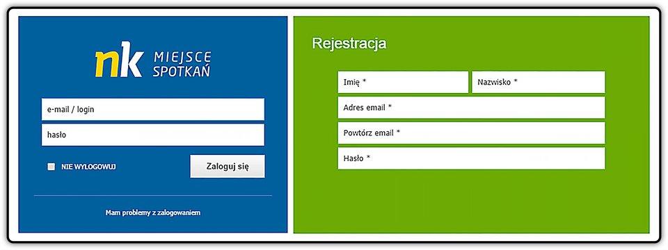 Zrzut okna logowania irejestracji portalu społecznościowego nk