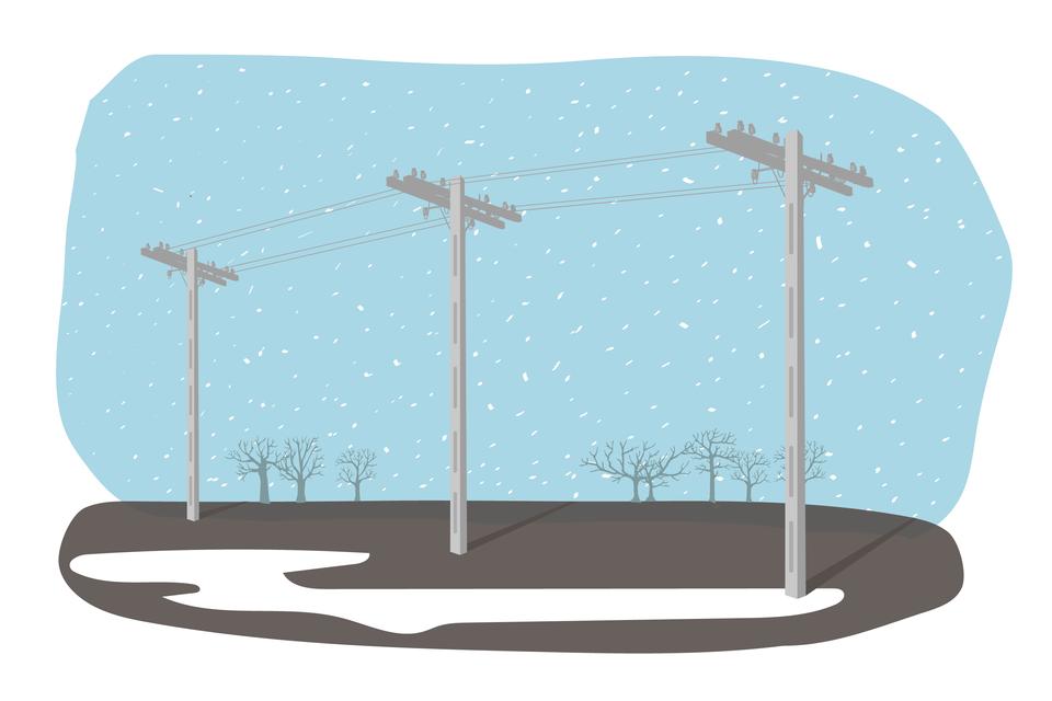 Ilustracja przedstawia sieć wysokiego napięcia zimą - widać, że przewody są napięte.