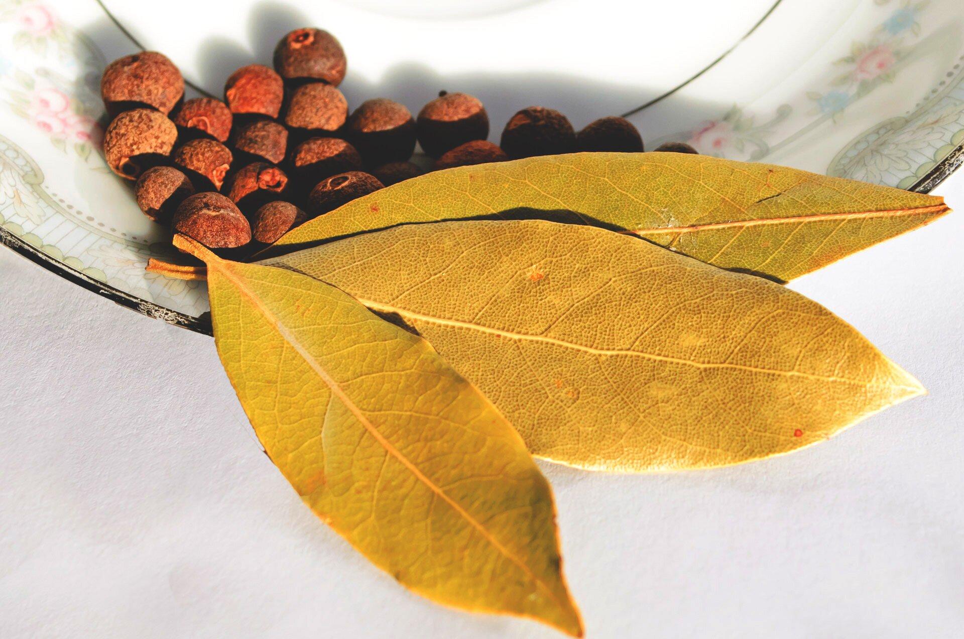 Liść laurowy iziele angielskie Liść laurowy iziele angielskie Źródło: pixabay, domena publiczna.