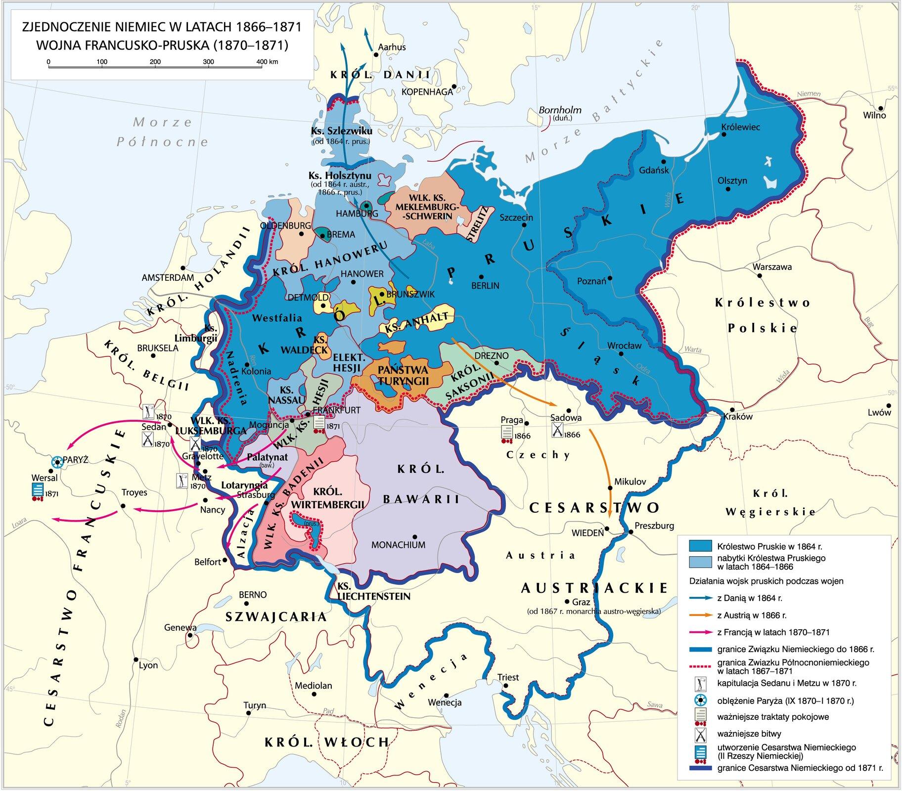 Zjednoczenie Niemiec wlatach 1866–1871. Wojna francusko-pruska (1870–1871) Źródło: Krystian Chariza izespół, Zjednoczenie Niemiec wlatach 1866–1871. Wojna francusko-pruska (1870–1871), licencja: CC BY 3.0.