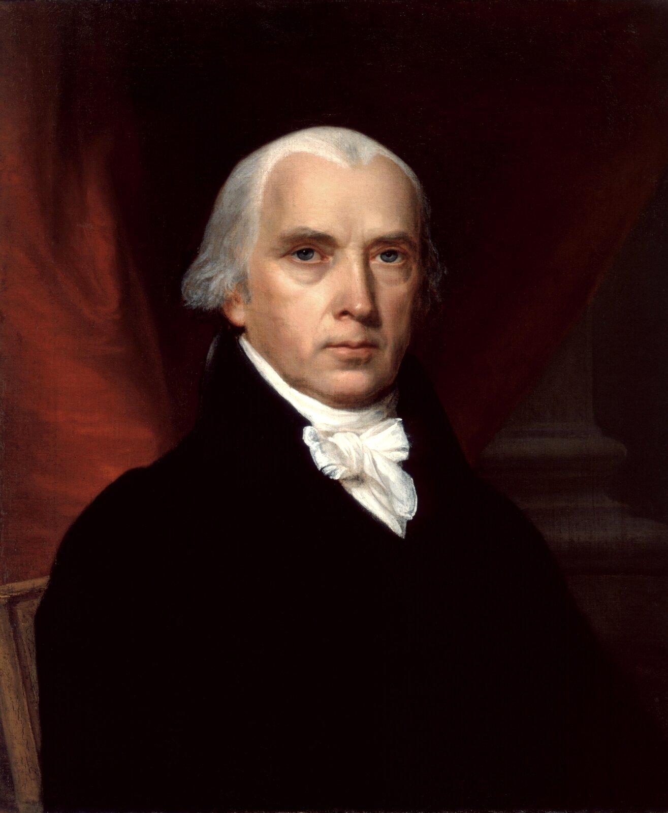 James Madison James Madison – portretnamalowany przez John Vanderlyna (1775-1852) w1816 r. – obecnie wBiałym Domu. Źródło: John Vanderlyn, James Madison, 1816, The White House Historical Association, domena publiczna.