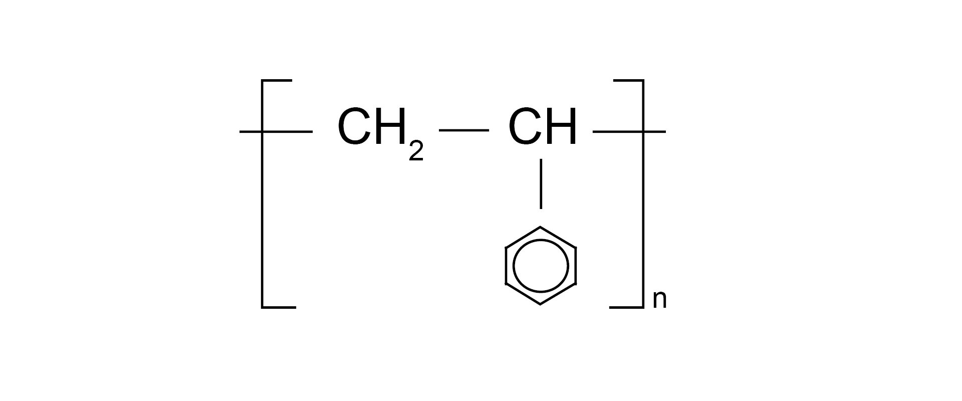Ilustracja pokazuje wzór sumaryczny polistyrenu.