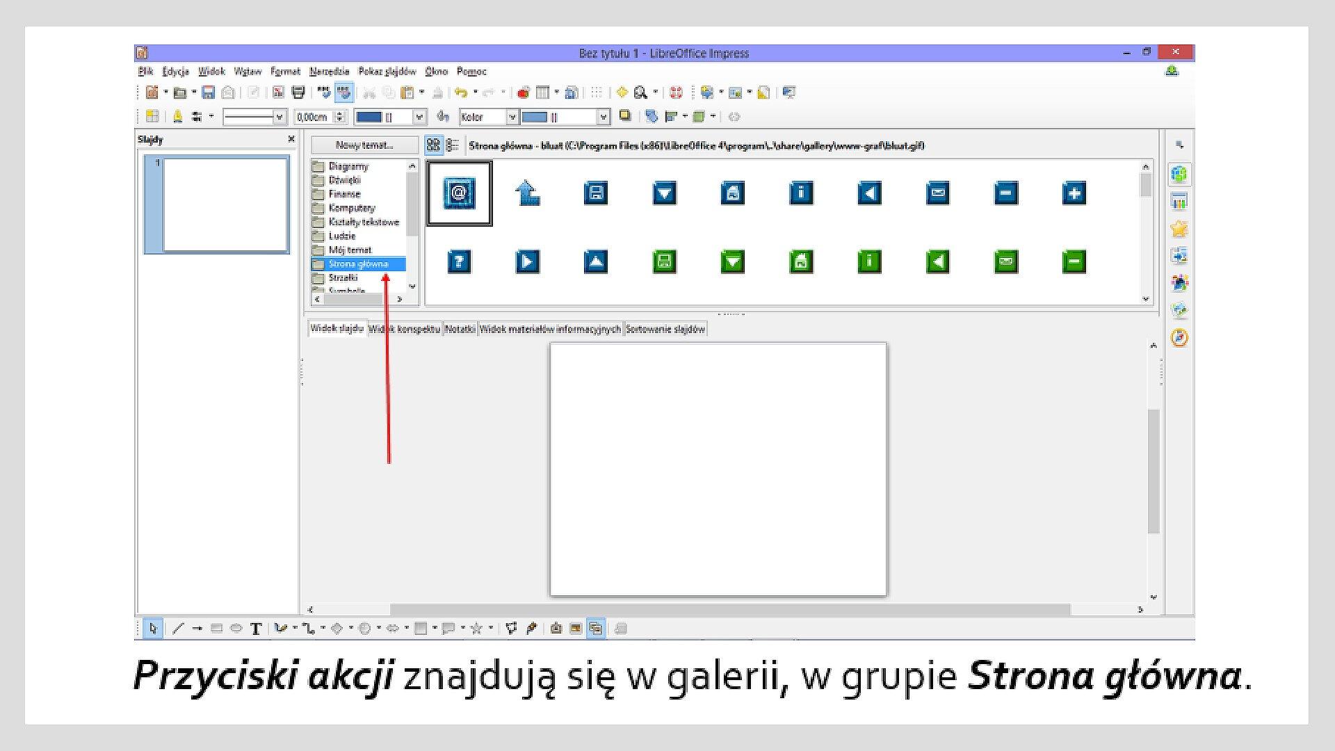 Zrzut okna programu LibreOffice Impress zgalerią przycisków akcji