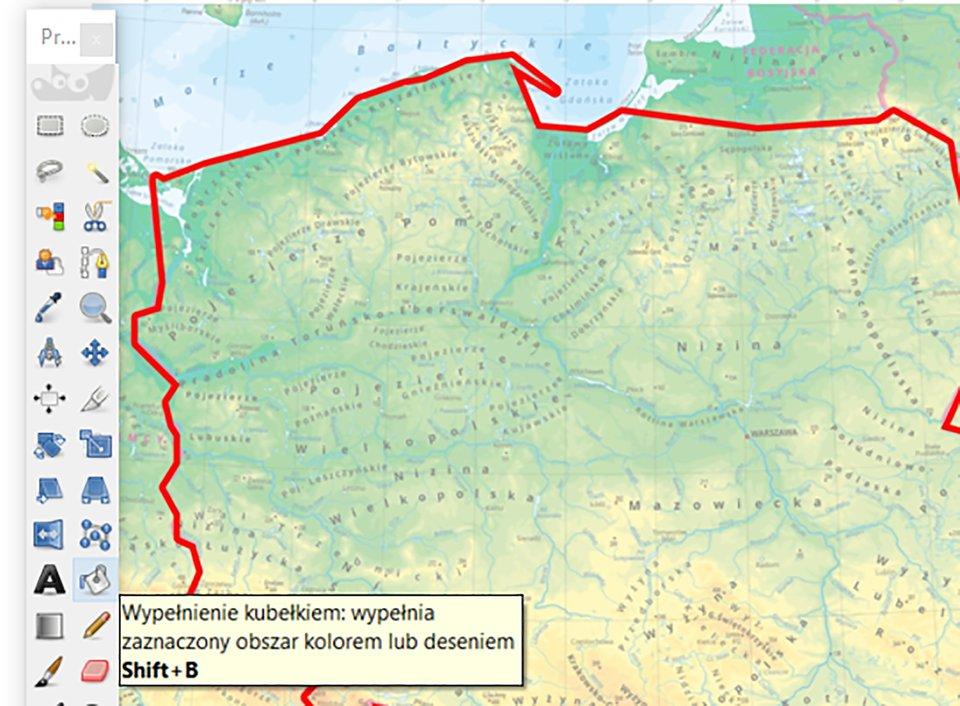 Ilustracja techniki odrysowywania konturu Polski