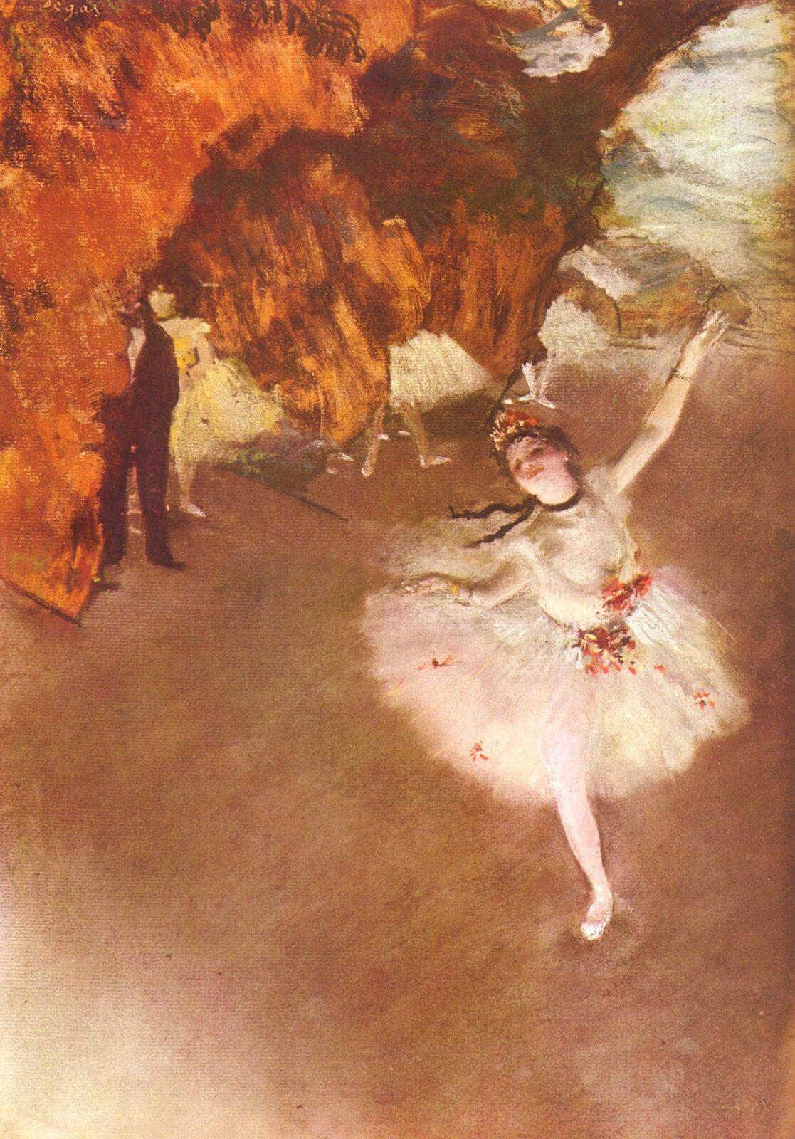 """Ilustracja przedstawia obraz Edgara Degasa """"Primabalerina"""". Ukazuje baletnicę podczas występu na scenie, znajduje się ona na pierwszym planie. Wtle stoją pozostałe tancerki, jednak są one rozmyte. Scena ujęta jest zgóry. Tło, na które składają się inne tancerki za kulisy jest mniej wyraźne."""