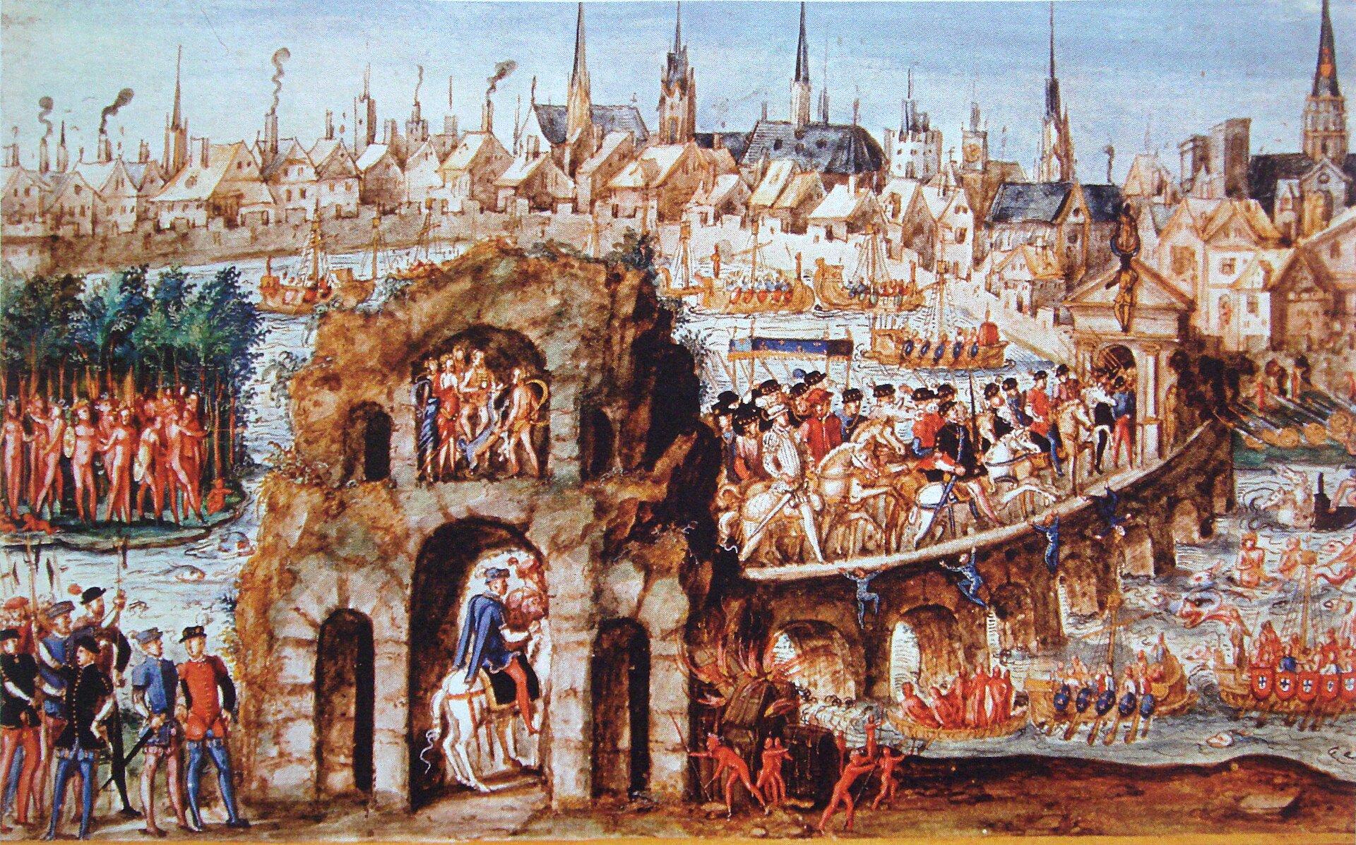 """Pobyt króla Henryka II wRouen w1550 r., tzw. """"bal brazylijski"""" -spektakl publiczny nawiązujący do tematyki odkryć geograficznych Pobyt króla Henryka II wRouen w1550 r., tzw. """"bal brazylijski"""" -spektakl publiczny nawiązujący do tematyki odkryć geograficznych Źródło: 1550, domena publiczna."""