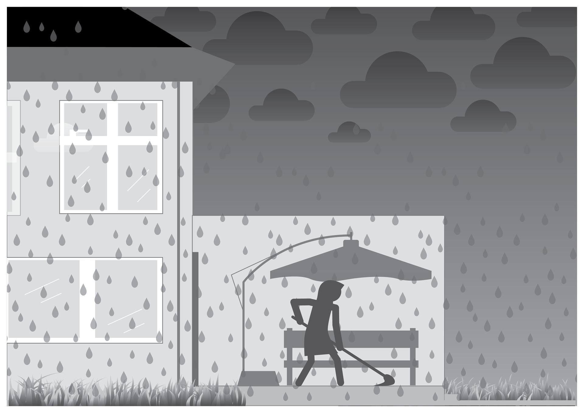 Druga ilustracja wgalerii. Przedstawia czarno biały symboliczny rysunek przydomowego osłoniętego tarasu zławką iparasolem ogrodowym. Gęsto rozmieszczone krople na całym obszarze planszy iciemne niebo wskazują deszczową pogodę. Na tarasie sylwetka człowieka czyszczącego posadzkę mopem.