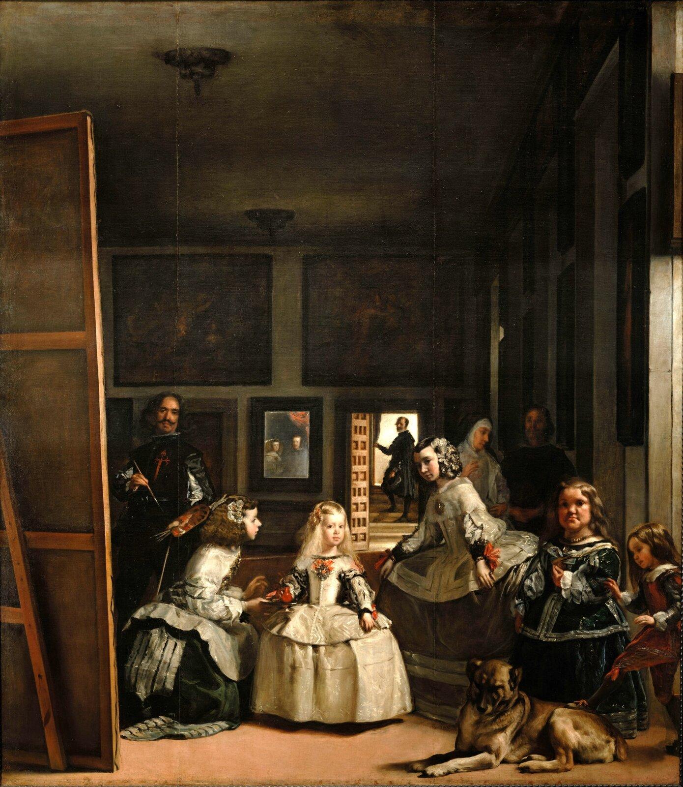 """Odpowiedz na pytanie. Kto znajduje się wcentrum obrazu """"Las Meninas"""" Velázqueza?"""