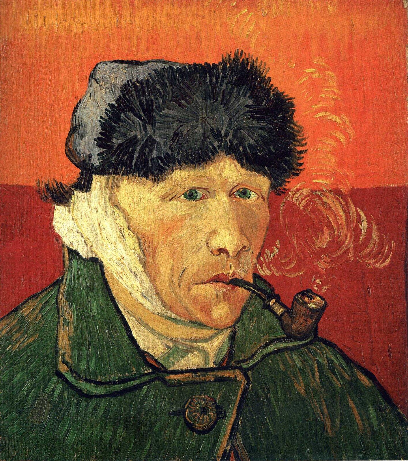 Vincent van Gogh, Autoportret zzabandażowanym uchem ifajką, 1889, Źródło: Wikipaintings.org, Vincent van Gogh, Autoportret zzabandażowanym uchem ifajką, 1889,, olej na płótnie, kolekcja prywatna, licencja: CC 0.