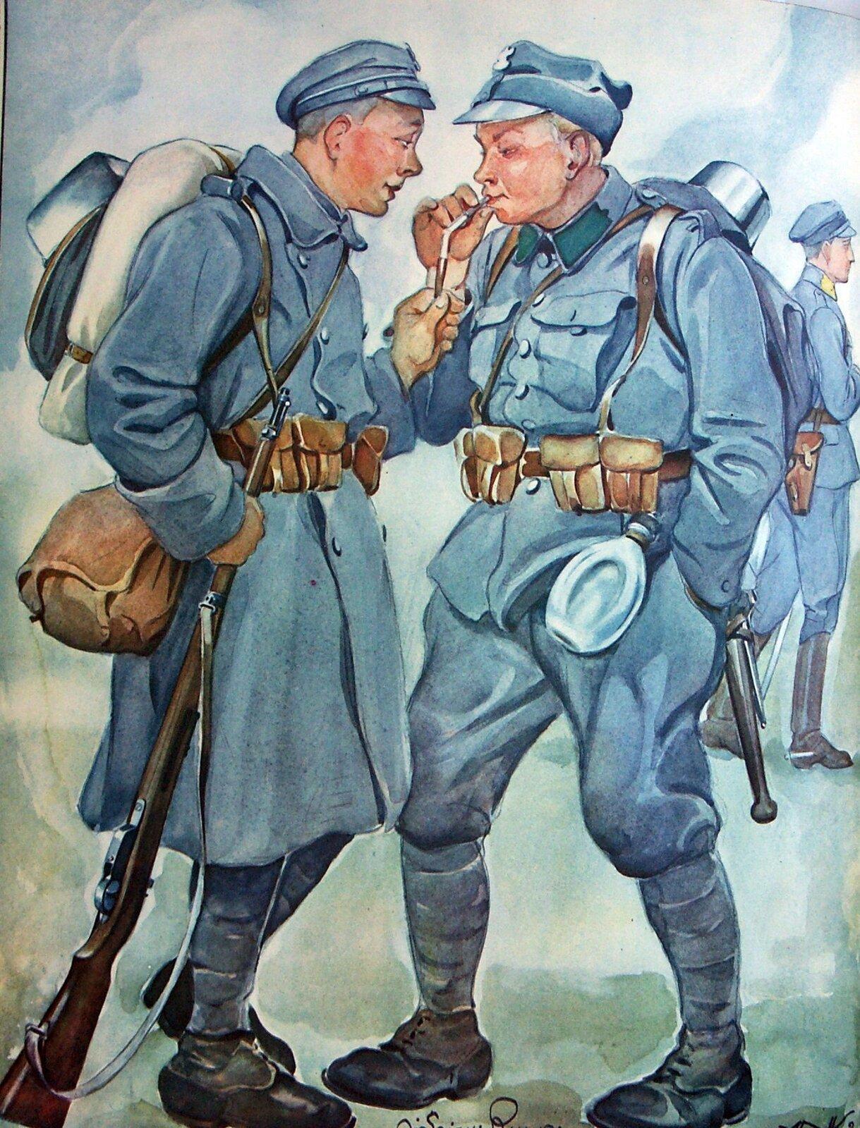 Legioniści 1914-1917 Od lewej: piechur IBrygady, piechur II Brygady, oficer żandarmerii. Źródło: Andrzej Nałęcz-Korzeniowski, Józef Ryszkiewicz, Legioniści 1914-1917, 1929, akwarela, domena publiczna.