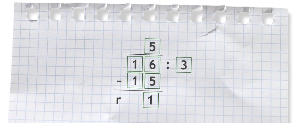 Przykład: 16 dzielone przez 3 =5 r1.