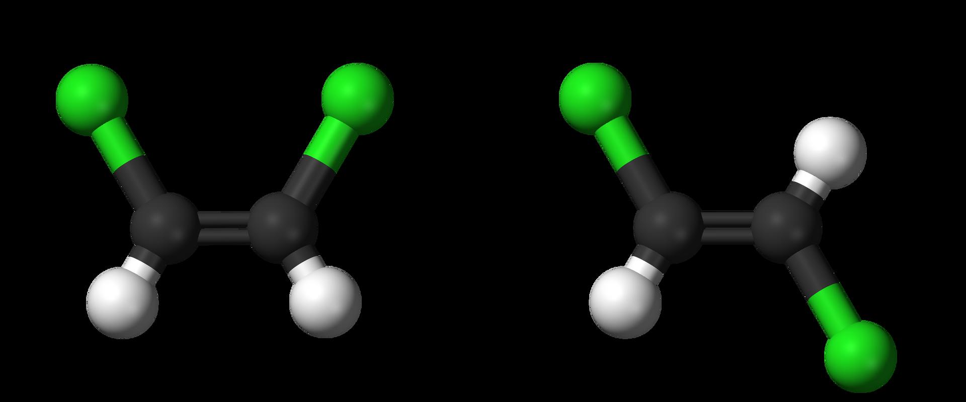 Na rysunku przedstawiono cis-1,2-dichloroeten, trans-1,2-dichloroeten. Cząsteczka cis-1,2-dichloroetenu składa się zdwóch atomów węgla połączonych ze sobą wiązaniem podwójnym oraz dwóch atomów chloru idwóch atomów wodoru. Atomy węgla na rysunku ułożone są poziomo. Do atomów węgla za pomocą wiązań pojedynczych przyłączone są po jednym atomie wodoru ichloru. Atomy chloru znajdują się nad atomami węgla, aatomy wodoru pod atomami węgla.Cząsteczka trans-1,2-dichloroetenu składa się zdwóch atomów węgla połączonych ze sobą wiązaniem podwójnym oraz dwóch atomów chloru idwóch atomów wodoru. Atomy węgla na rysunku ułożone są poziomo. Do atomów węgla za pomocą wiązań pojedynczych przyłączone są po jednym atomie wodoru ichloru. Atom chloru przyłączony do lewego atomu węgla znajduje się nad atomem węgla, aatom chloru przyłączony do prawego atomu węgla znajduje się pod atomem węgla.