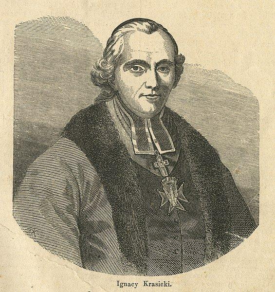 Ilustracja przedstawia portret mężczyzny.Siedzi on na krześle jest ubrany wsutannę, na piersiach ma krzyż zawieszony na łańcuchu. Na głowie perukę zepoki. Jest to młody , tęgi mężczyzna.