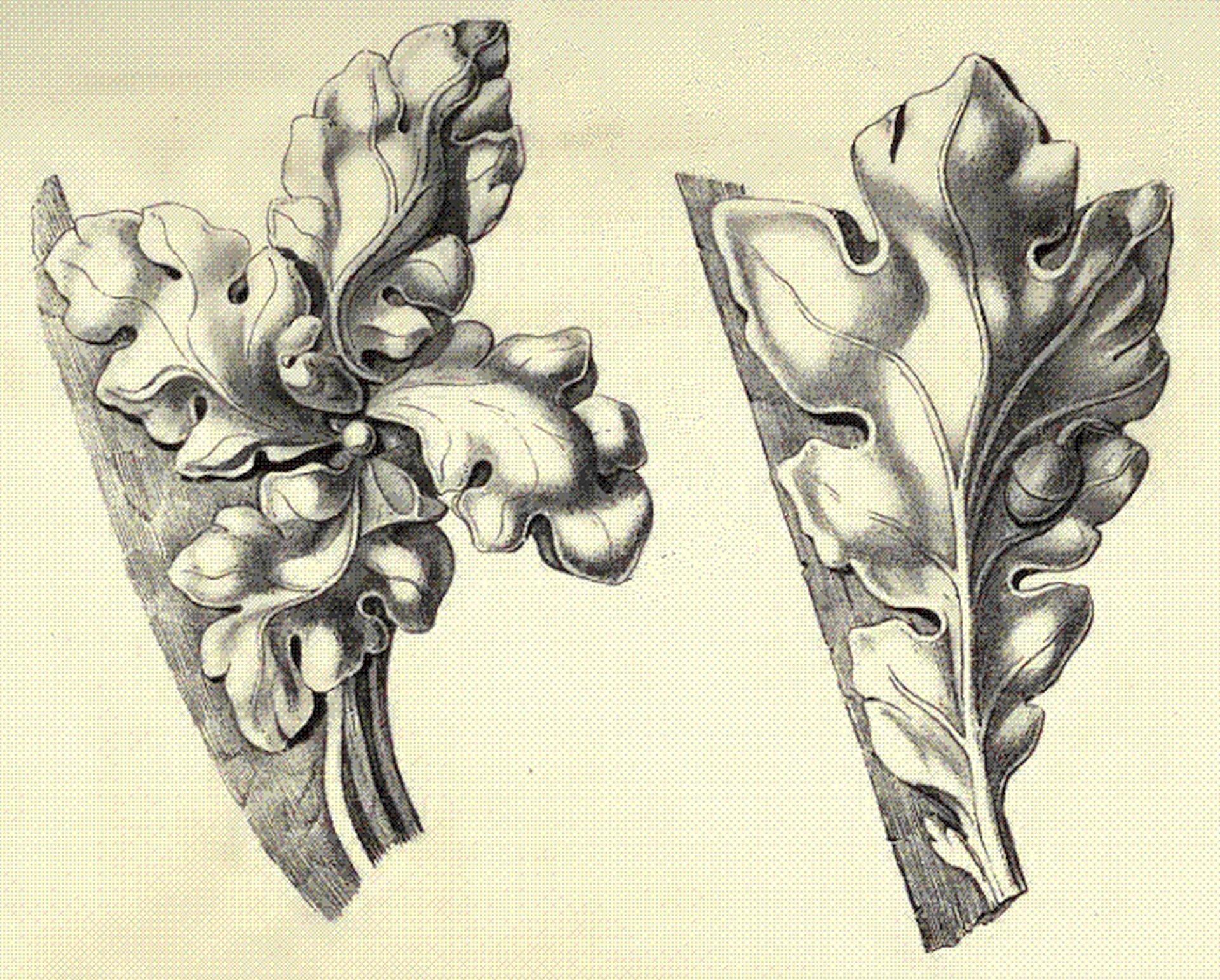 Ilustracja przedstawiająca ornament: czołganki (żabki). Element dekoracyjny naszkicowany jest czarnym kolorem bez wypełenień.