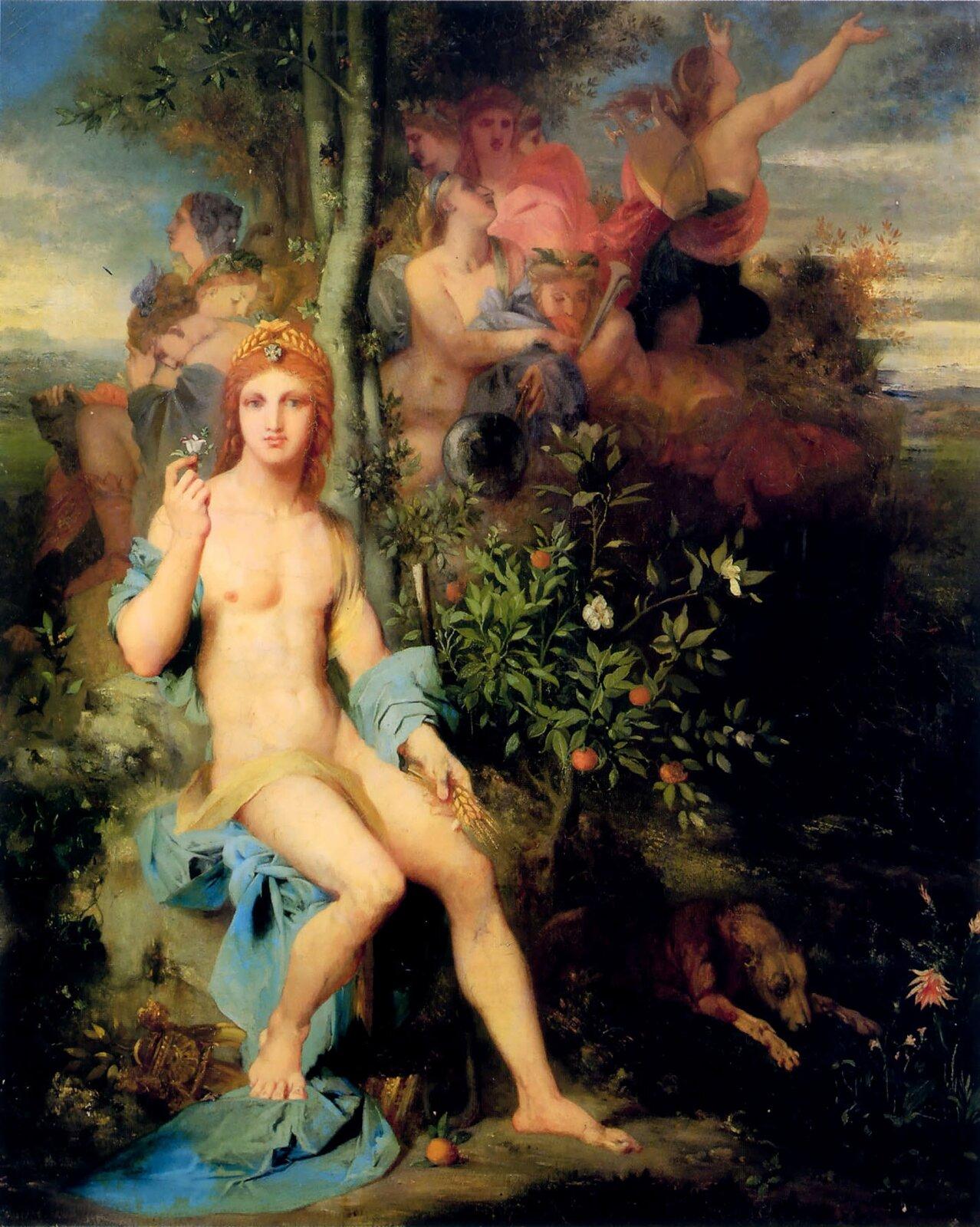 Apollo idziewięć muz Źródło: Gustave Moreau, Apollo idziewięć muz, 1856, olej na płótnie, prywatna kolekcja, domena publiczna.