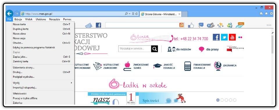 Zrzut fragmentu okna przeglądarki Internet Explorer zpokazanym menu Plik